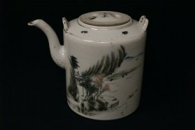 Chinese Early 20th C. Porcelain Teapot