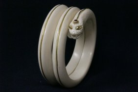 Early 20th Century Ivory Bangle Braceletin Snake Motif