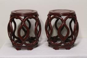 Pair Chinese Rosewood Stools