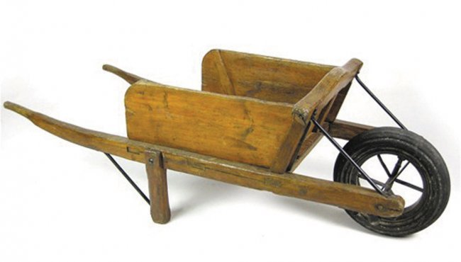 rustic wooden wheelbarrow 1