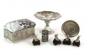 A Collection Of Chinese Silver Ornaments  Comprisi