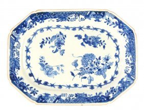A Blue And White Octagonal Serving Dish, Chinese Qianlo