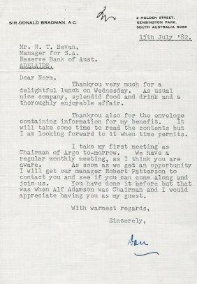 DON BRADMAN CORRESPONDENCE 1982 95 Correspondence To