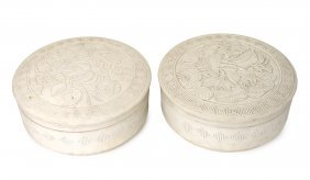 A Pair Of Chinese White Pottery Circular Boxes And