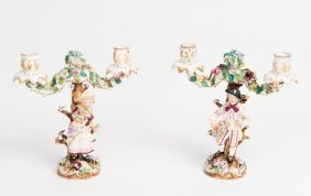 A Pair Of Meissen Style Two Branch Candelabra With