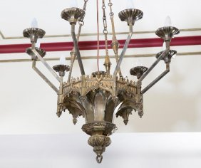 A Victorian Gothic Revival Bronze 9-light Hanging Lamp