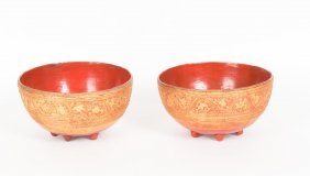 A Pair Of Burmese Pair Of Red Lacquer Bowls With