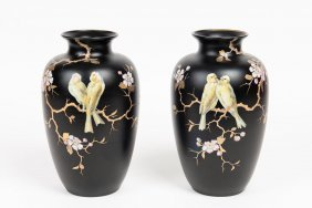 A Pair Of Black Glass Vases Painted With Canaries, 24