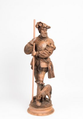 A Swiss/german Carved Wood Figure Of A Huntsman And His