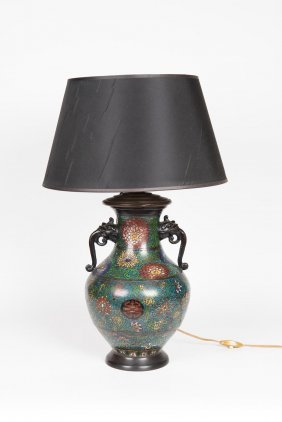 A Chinese Cloisonn Vase (adapted To Lamp Base)