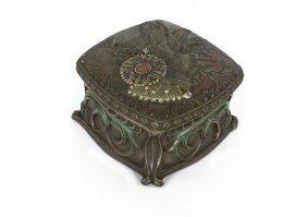 An Art Nouveau Style Cold Painted Metal Box