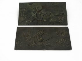 A Pair Of Bronze Panels Of Putti Emblematic Of