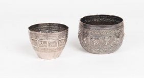 Two Thai Silver Bowls, 19th/20th Century, Fitted Box