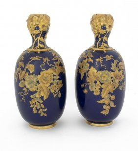A Pair Of Royal Crown Derby Blue Ground Gilt Vases