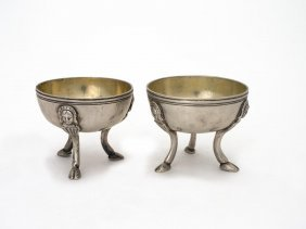 A Pair Of French Silver Salts On Three Hoof Feet