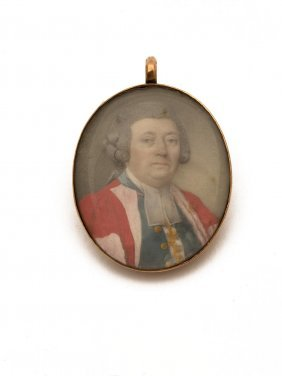 A Georgian Miniature Of A Judge In A Red Robe, Oval On