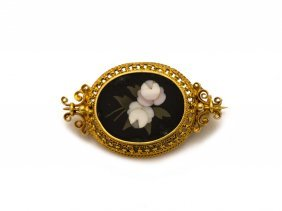A Victorian Pietra Dura Brooch Of White Roses, Yellow