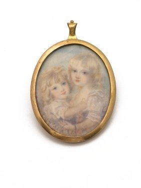 A Georgian Miniature Of Two Young Girls, Oval On Ivory