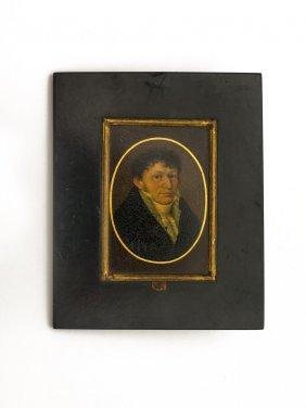 A Georgian Miniature Of A Gentleman, Oval On Board