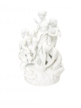 A Serves Bisque Figural Group Of The Bath Of Diana,