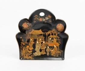 A Chinoiserie Papier Mache Dust Pan, Circa 1930