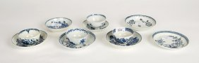 A Collection Of Four Worcester Blue And White Tea Bowls