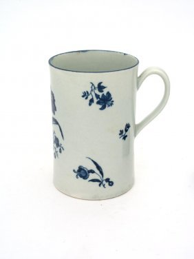 A Worcester Blue And White Mug Decorated With The
