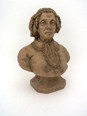 A Terracotta Bust Of An Elderly Woman, Signed Cg Poyt