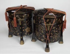 A Pair Of Large Japanese Black Lacquer Kai-oke (shell