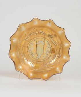 An Orange Carnival Glass Bowl Moulded With A Kingfisher