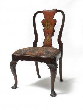 A Georgian Mahogany Chinoiserie Side Chair With Curved