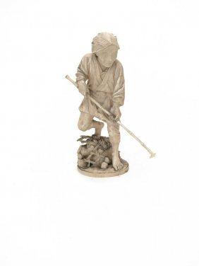 A Japanese Ivory Figure Of A Farmer With A Pole, Meiji