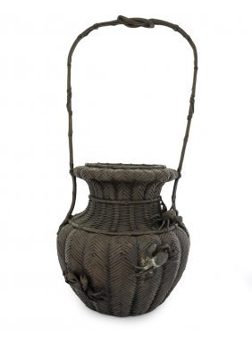 A Japanese Bronze Basket Weave Vase Applied With Crabs,