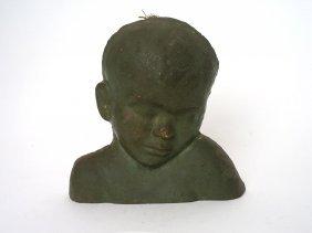 An Australian Pottery Bust Of A Sleeping Child By Ola