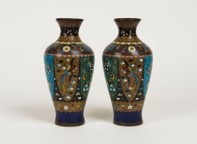 A Pair Of Chinese Cloisonn Vases, Early 20th Century