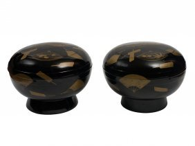 A Pair Of Large Japanese Black Lacquer Bowls And Covers