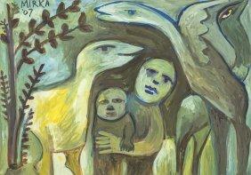 Mirka Mora (born 1928) Mother, Child And Birds 2007