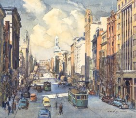 C. Dudley Wood (1905-1980) Collins Street, Melbourne