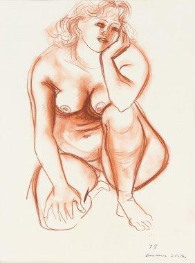 Constance Stokes (1906-1991) Squatting Nude 1978
