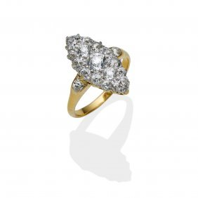 A Victorian Diamond Ring, Of Marquise Cluster Design,