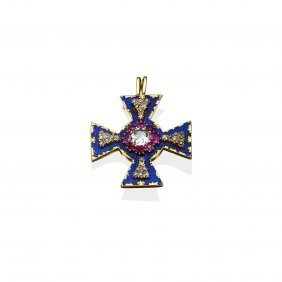 An Antique Victorian Diamond, Ruby And Enamel Maltese