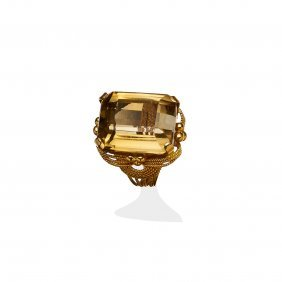 A Citrine Cocktail Ring, Set With A Rectangular Step