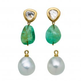 A Pair Of Emerald, Pearl And Diamond Earrings, Adrian