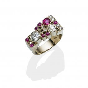 A Ruby And Diamond Cocktail Ring, Circa 1940's. The