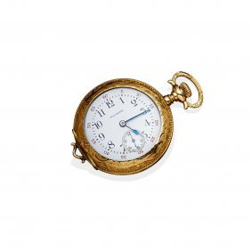 A Lady's Gold Openface Pocket Watch, Waltham. 36mm.