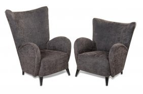 A Pair Of Charcoal Upholstered Monsieur And Madame