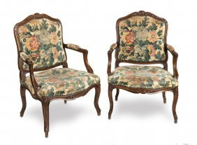 A Pair Of Carved Walnut Louis Xvi Style Tapestry