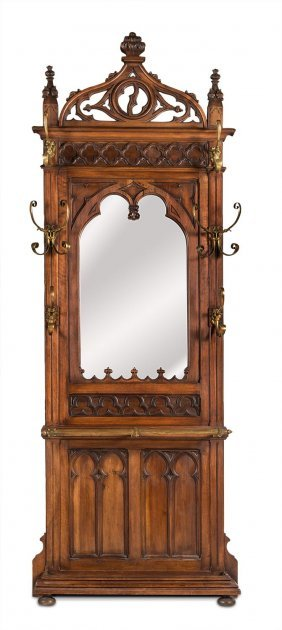A Gothic Inspired Walnut And Brass Mounted Hallstand