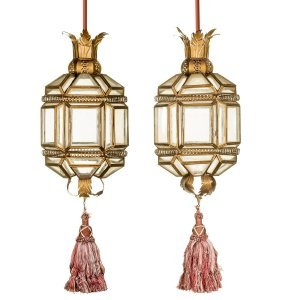 A Pair Of Gilt Metal And Clear Glass Lanterns With Silk
