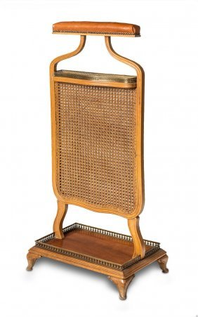 A Studded Tan Leather, Brass And Caned Ladies Valet